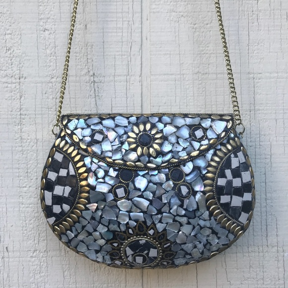 Madaari Shimmer Stone Mosaic Met Box Chain Clutch c94939b532db8